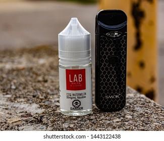 Winnipeg Mb, Canada - June 27 2019. Smok Nord vape with Lab Salts ejuice.