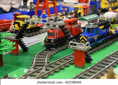 WINNIPEG, MB - SEPTEMBER 27: Lego exhibit at the Red River Exhibit ground dislaying various lego creation. September 27, 2015 in Winnipeg, Manitoba