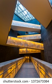 Winnipeg, MB/Canada - April 2019: A look at the illuminated walkways inside the Canadian Museum for Human Rights