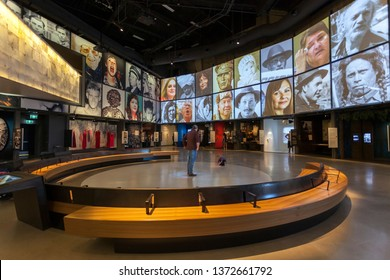 Winnipeg, MB/Canada - April 2019: People looking around the exhibits inside the Canadian Museum for Human Rights