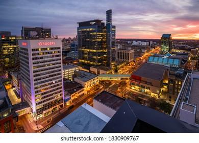 Winnipeg, MB/Canada - October 2020: Downtown Winnipeg at night during autumn