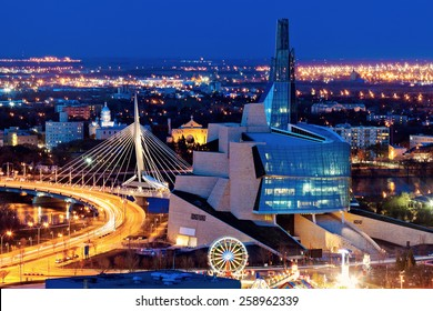 Winnipeg panorama at sunset. Winnipeg, Manitoba, Canada