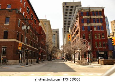Winnipeg,Manitoba,Canada 05-18/2020 downtown Winnipeg in spring time sunny sky