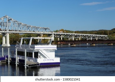 WINONA, MINNESOTA/USA- OCTOBER 9, 2019 Cal Fremling boat owned by Winona State University on the Mississippi River. Aquatic science, research, and  exploration