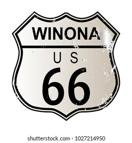 Winona Route 66 traffic sign over a white background and the legend ROUTE US 66