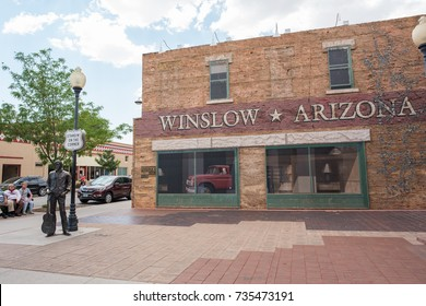 "Winslow, Arizona: June 22, 2017: Winslow, Arizona gained prominence from the Eagle's song, ""Take it Easy,"" which includes lyrics about standing on the corner in Winslow, AZ.  Winslow is on Route 66."