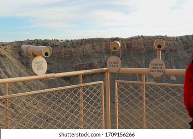 Winslow, Arizona/ United States of America- November 3, 2018- This is an area where you can lookout at different areas of the Metor Crater