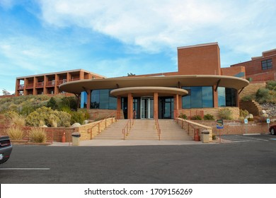 Winslow, Arizona/ United States of America- November 3, 2018- This is the front view of the Visitor Center loacted in the beatufiul Metor Crater National Landmark