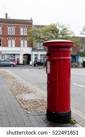 Winslow, Buckinghamshire, United Kingdom, October 25, 2016: Royal Mail red post box on Market Square, Winslow.