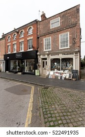 Winslow, Buckinghamshire, United Kingdom, October 25, 2016: Rocker + Robes and Scotts Trading on Market Square on grey chilly morning