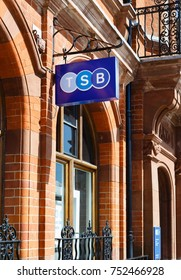 WINSLOW, UK - CIRCA 2015: TSB bank (Trustee Savings Bank) logo sign hanging outside a bank