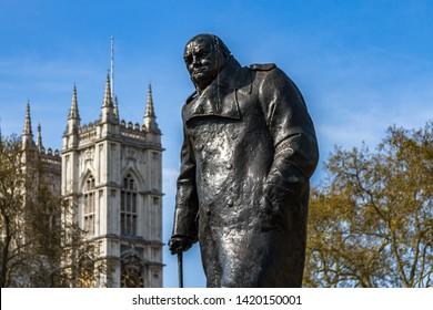 Winston Churchill Statue in Parliament Square in London,UK-April 2019