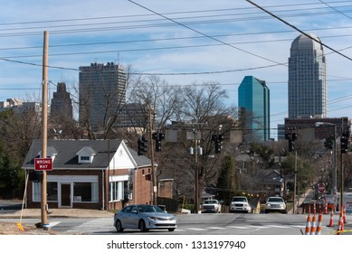 Winston Salem, NC/United States- 02/14/2019: Looking towards a cluster of office towers in downtown Winston Salem.