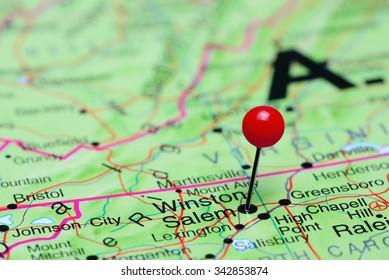 Winston Salem pinned on a map of USA