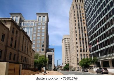 WINSTON-SALEM - APRIL 2015: Looking towards downtown Winston-Salem, North Carolina.