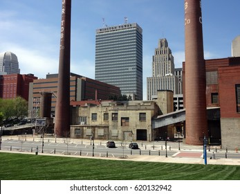 WINSTON-SALEM, NC, April 2015 - View of the Winston Salem skyline from Bailey Park. This includes the Winston Tower, the old R.J. Reynolds Tobacco Factory and smokestack.