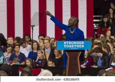WINSTON-SALEM, NC - OCTOBER 27 , 2016: North Carolina Congress member introduces Hillary Clinton Campaign rally featuring US First Lady Michelle Obama.