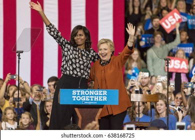 WINSTON-SALEM, NC - OCTOBER 27, 2016: Democratic presidential candidate Hillary Clinton and US First Lady Michelle Obama appear at a presidential campaign event.