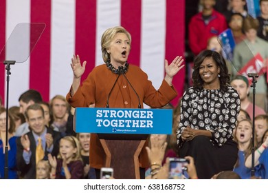 WINSTON-SALEM, NC - OCTOBER 27 , 2016: Democratic presidential candidate Hillary Clinton and US First Lady Michelle Obama appear at a presidential campaign event.