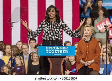 WINSTON-SALEM, NC - OCTOBER 27 , 2016: First Lady Michelle Obama introduces Democratic presidential candidate Hillary Clinton at a presidential campaign event.