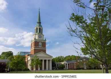 WINSTON-SALEM, NC, USA - APRIL 15: Wait Chapel at Wake Forest University (Hearn Plaza) on April 15, 2012 in Winston-Salem, NC, USA