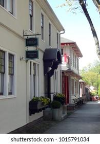 WINSTON-SALEM, NC / USA - APRIL 2015: Shops and Cafes in Winston-Salem, North Carolina
