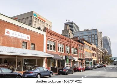 WINSTON-SALEM, NC, USA - APRIL 8: Downtown Winston-Salem on April 8, 2018 in Winston-Salem, North Carolina.