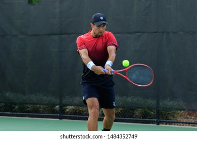 WINSTON-SALEM, NC, USA - AUGUST 17: Marcos Giron plays during qualifying round on August 17, 2019 at the Winston-Salem Open in Winston-Salem, North Carolina.