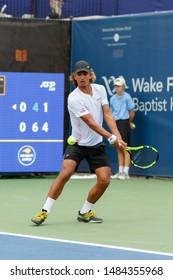 WINSTON-SALEM, NC, USA - AUGUST 17: Taha Baadi plays during qualifying round on August 17, 2019 at the Winston-Salem Open in Winston-Salem, North Carolina.