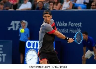 WINSTON-SALEM, NC, USA - AUGUST 18: Tomas Berdych plays center court on August 18, 2019 at the Winston-Salem Open in Winston-Salem, North Carolina.