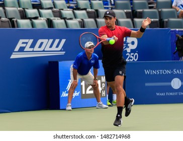 WINSTON-SALEM, NC, USA - AUGUST 18:Marcos Giron plays during qualifying round on August 18, 2019 at the Winston-Salem Open in Winston-Salem, North Carolina.