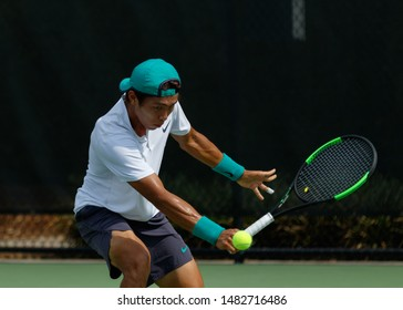 WINSTON-SALEM, NC, USA - AUGUST 19: Duckhee Lee plays during round one on August 19, 2019 at the Winston-Salem Open in Winston-Salem, North Carolina.