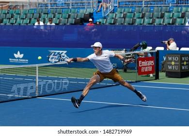 WINSTON-SALEM, NC, USA - AUGUST 19: Nicolas Jarry plays center court on August 19, 2019 at the Winston-Salem Open in Winston-Salem, North Carolina.