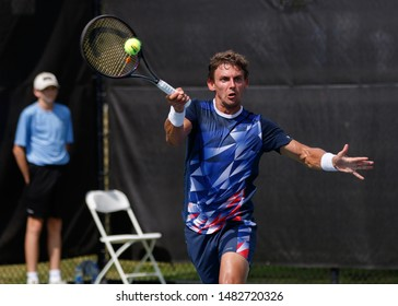 WINSTON-SALEM, NC, USA - AUGUST 19: Henri Laaksonen plays center court on August 19, 2019 at the Winston-Salem Open in Winston-Salem, North Carolina.