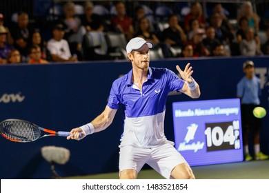 WINSTON-SALEM, NC, USA - AUGUST 19: Andy Murray plays center court on August 19, 2019 at the Winston-Salem Open in Winston-Salem, North Carolina.