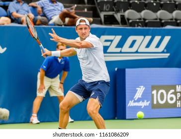 WINSTON-SALEM, NC, USA -  AUGUST 20: Tennys Sandgren plays on August 20, 2018 at the Winston-Salem Open in Winston-Salem, North Carolina.