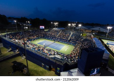 WINSTON-SALEM, NC, USA - AUGUST 20: The Winston-Salem Open during a night match at Wake Forest University on August 20, 2014 in Winston-Salem, NC, USA