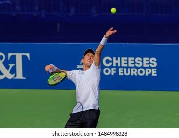 WINSTON-SALEM, NC, USA - AUGUST 21: Casper Ruud plays center court on August 21, 2019 at the Winston-Salem Open in Winston-Salem, North Carolina.