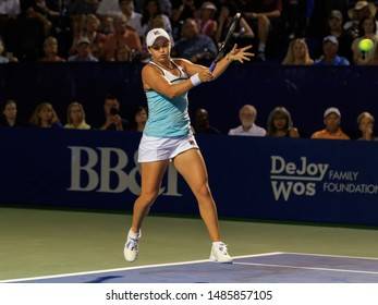 WINSTON-SALEM, NC, USA - AUGUST 21:  Ashleigh Barty plays an exhibition match on August 21, 2019 at the Winston-Salem Open in Winston-Salem, North Carolina.
