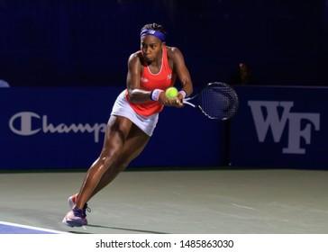 WINSTON-SALEM, NC, USA - AUGUST 21:  Coco Gauff plays an exhibition match on August 21, 2019 at the Winston-Salem Open in Winston-Salem, North Carolina.