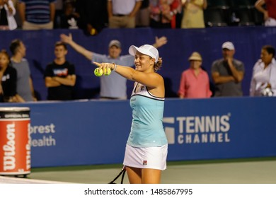 WINSTON-SALEM, NC, USA - AUGUST 21:  Ashleigh Barty after an exhibition match on August 21, 2019 at the Winston-Salem Open in Winston-Salem, North Carolina.