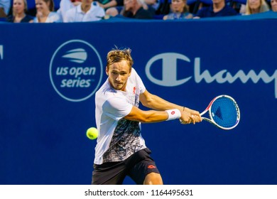 WINSTON-SALEM, NC, USA - AUGUST 24: Daniil Medvedev plays during his Semi-Final win on August 24, 2018 at the Winston-Salem Open in Winston-Salem North Carolina.