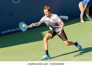 WINSTON-SALEM, NC, USA - AUGUST 25: Daniil Medvedev plays during his Tournament win on August 25, 2018 at the Winston-Salem Open in Winston-Salem North Carolina.