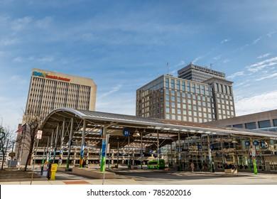 WINSTON-SALEM, NC, USA - DECEMBER 30: Winston-Salem Transit Authority and Winston-Salem Skyline on December 30, 2017 in Winston-Salem, North Carolina.