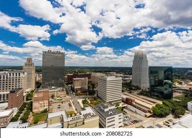 WINSTON-SALEM, NC, USA - JULY 28: Downtown Winston-Salem from above on July 28, 2014 in Winston-Salem, NC, USA