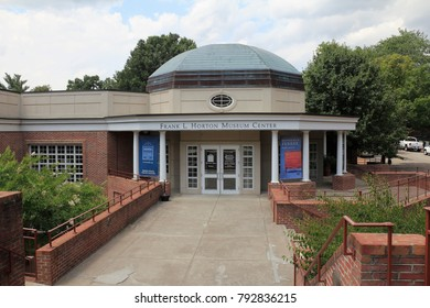 Winston-Salem, NC, USA - June 26, 2015: Front entrance and sign to the Frank L Horton Museum Center. Frank L Horton Museum Center facade close-up on a sunny day.