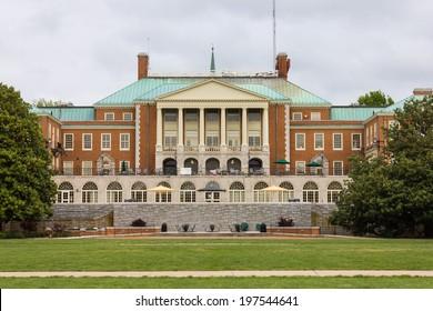 WINSTON-SALEM, NC, USA - MAY 5: Reynolda Hall at Wake Forest University (Hearn Plaza) on May 5, 2013 in Winston-Salem, NC, USA