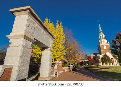 """WINSTON-SALEM, NC, USA - NOVEMBER 7: Hearn Plaza, also known as the """"Upper Quad"""" at Wake Forest University, on November 7, 2014 in Winston-Salem, NC, USA"""