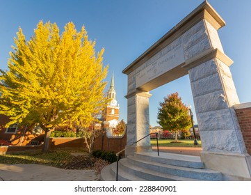 """WINSTON-SALEM, NC, USA - NOVEMBER 7: Hearn Plaza, also known as the """"Upper Quad"""" at Wake Forest University on November 7, 2014 in Winston-Salem, NC, USA"""