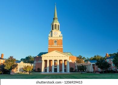 WINSTON-SALEM, NC, USA - OCTOBER 19, 2018: Wait Chapel and Hearn Plaza on October, 19, 2018 at Wake Forest University in Winston-Salem, North Carolina.
